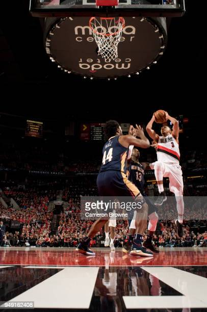 McCollum of the Portland Trail Blazers goes to the basket against the New Orleans Pelicans in Game Two of the Western Conference Quarterfinals during...