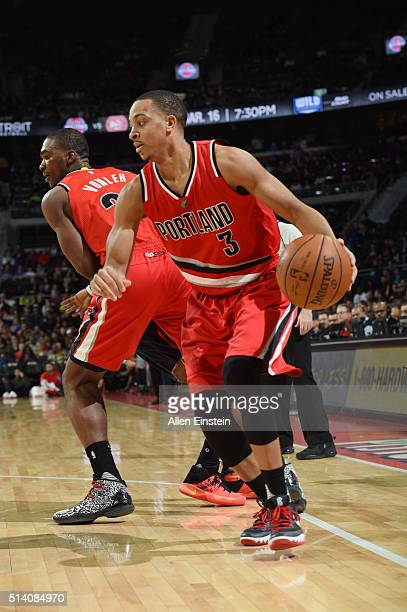 J McCollum of the Portland Trail Blazers handles the ball against the Detroit Pistons on March 6 2016 at The Palace of Auburn Hills in Auburn Hills...