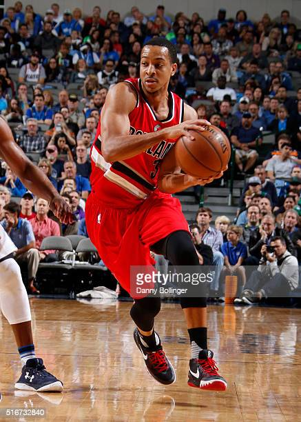 McCollum of the Portland Trail Blazers handles the ball against the Dallas Mavericks on March 20 2016 at the American Airlines Center in Dallas Texas...