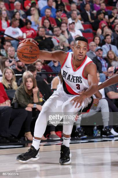 McCollum of the Portland Trail Blazers handles the ball against the Phoenix Suns on October 3 2017 at the Moda Center in Portland Oregon NOTE TO USER...