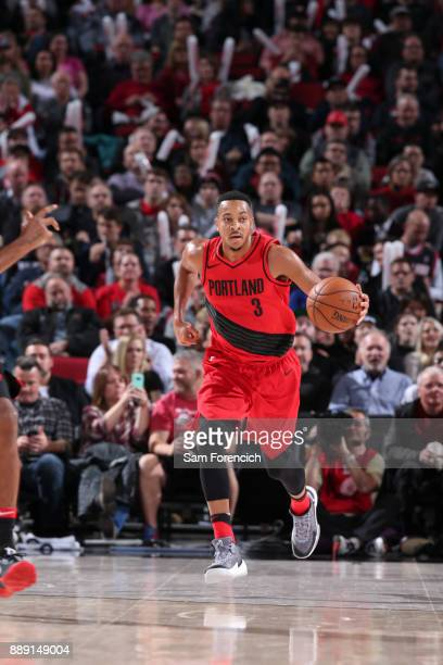McCollum of the Portland Trail Blazers handles the ball against the Houston Rockets on December 9 2017 at the Moda Center in Portland Oregon NOTE TO...