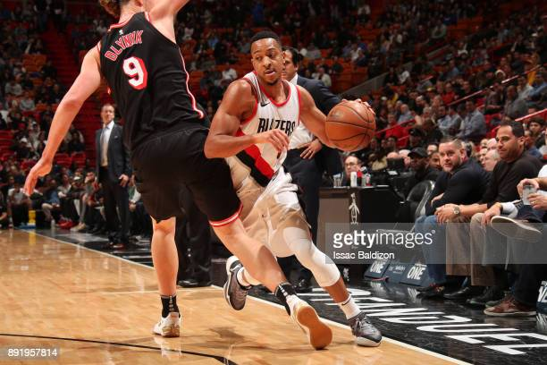 McCollum of the Portland Trail Blazers handles the ball against the Miami Heat on December 13 2017 at American Airlines Arena in Miami Florida NOTE...