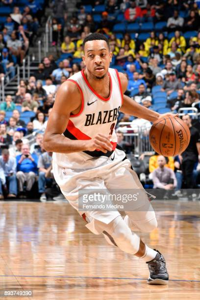 McCollum of the Portland Trail Blazers handles the ball against the Orlando Magic on December 15 2017 at Amway Center in Orlando Florida NOTE TO USER...