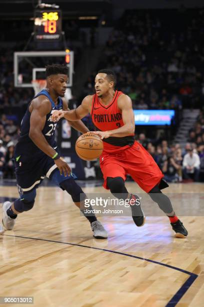 McCollum of the Portland Trail Blazers handles the ball against the Minnesota Timberwolves on January 14 2018 at Target Center in Minneapolis...