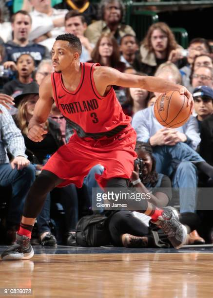 McCollum of the Portland Trail Blazers handles the ball against the Dallas Mavericks on January 26 2018 at the American Airlines Center in Dallas...
