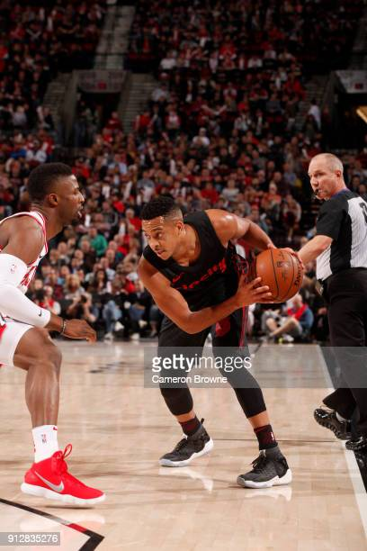 McCollum of the Portland Trail Blazers handles the ball against the Chicago Bulls on January 31 2018 at the Moda Center in Portland Oregon NOTE TO...