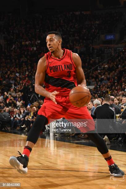 McCollum of the Portland Trail Blazers handles the ball against the Toronto Raptors on February 2 2018 at the Air Canada Centre in Toronto Ontario...
