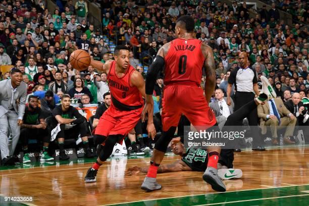McCollum of the Portland Trail Blazers handles the ball against the Boston Celtics on February 4 2018 at the TD Garden in Boston Massachusetts NOTE...
