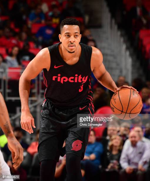 McCollum of the Portland Trail Blazers handles the ball against the Detroit Pistons on February 5 2018 at Little Caesars Arena Michigan NOTE TO USER...