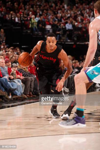 McCollum of the Portland Trail Blazers handles the ball against the Charlotte Hornets on February 8 2018 at the Moda Center in Portland Oregon NOTE...