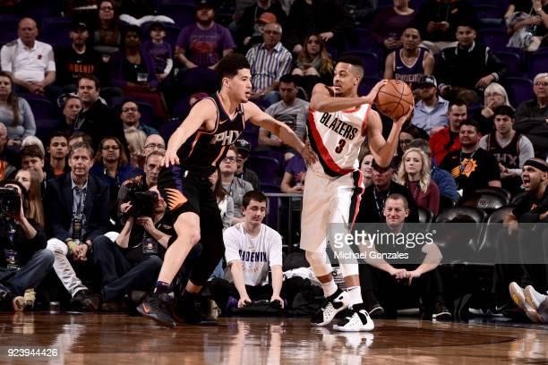 McCollum of the Portland Trail Blazers handles the ball against the Phoenix Suns on February 24 2018 at Talking Stick Resort Arena in Phoenix Arizona...