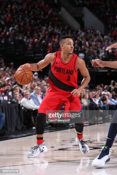 McCollum of the Portland Trail Blazers handles the ball against the Minnesota Timberwolves on March 1 2018 at the Moda Center in Portland Oregon NOTE...