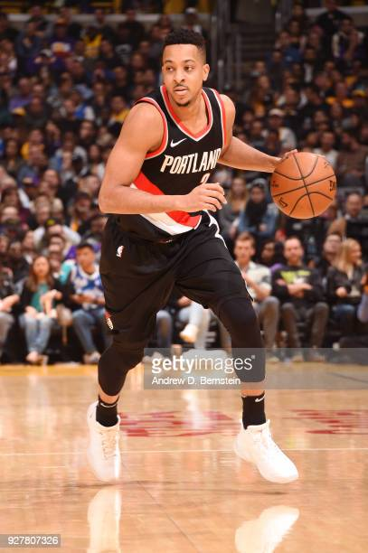 McCollum of the Portland Trail Blazers handles the ball against the Los Angeles Lakers on March 5 2018 at STAPLES Center in Los Angeles California...