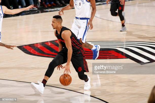 McCollum of the Portland Trail Blazers handles the ball against the Golden State Warriors on March 9 2018 at the Moda Center in Portland Oregon NOTE...