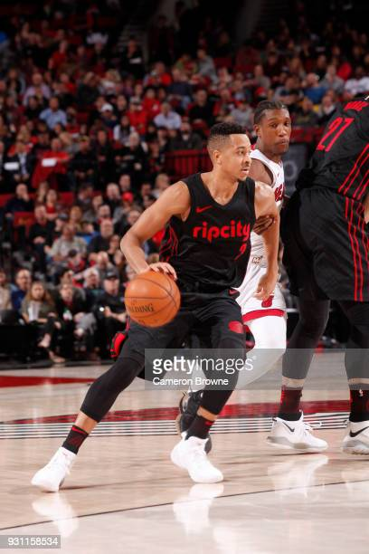 McCollum of the Portland Trail Blazers handles the ball against the Miami Heat on March 12 2018 at the Moda Center in Portland Oregon NOTE TO USER...
