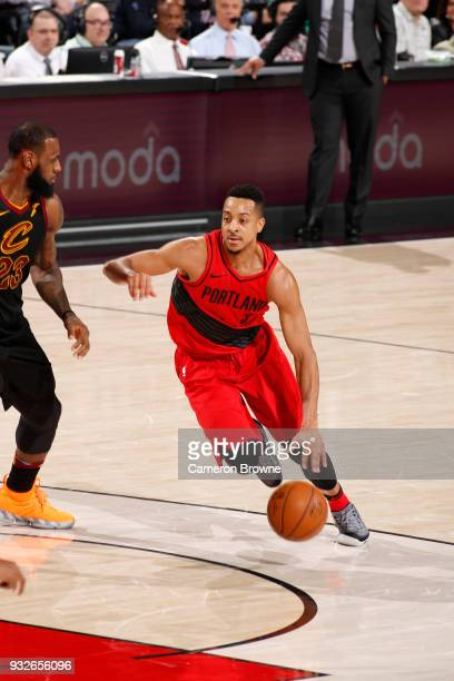 McCollum of the Portland Trail Blazers handles the ball against the Cleveland Cavaliers on March 15 2018 at the Moda Center in Portland Oregon NOTE...