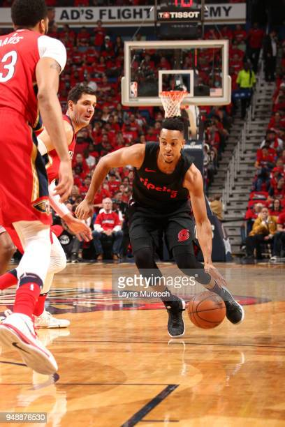 McCollum of the Portland Trail Blazers handles the ball against the New Orleans Pelicans in Game Three of Round One of the 2018 NBA Playoffs on April...