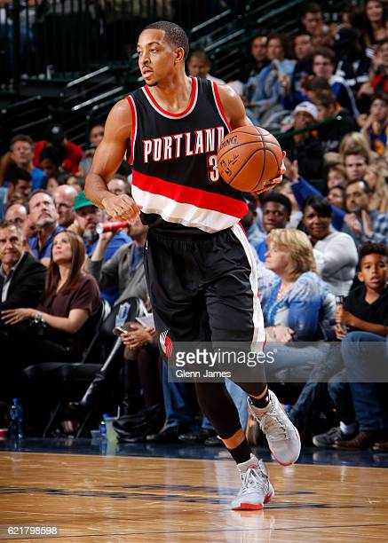 J McCollum of the Portland Trail Blazers handles the ball during a game against the Dallas Mavericks on November 4 2016 at the American Airlines...