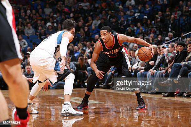 J McCollum of the Portland Trail Blazers handles the ball during a game against the Minnesota Timberwolves on January 1 2017 at the Target Center in...