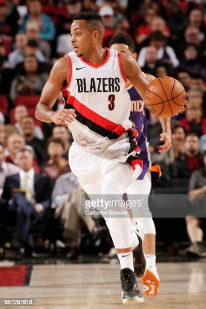 McCollum of the Portland Trail Blazers handles the ball during a preseason game Phoenix Suns on October 3 2017 at the Moda Center in Portland Oregon...