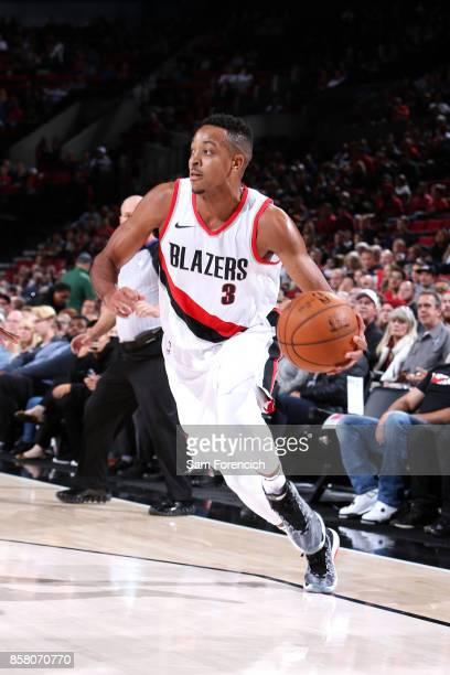 McCollum of the Portland Trail Blazers handles the ball during the game against the Toronto Raptors during a preseason game on October 5 2017 at the...