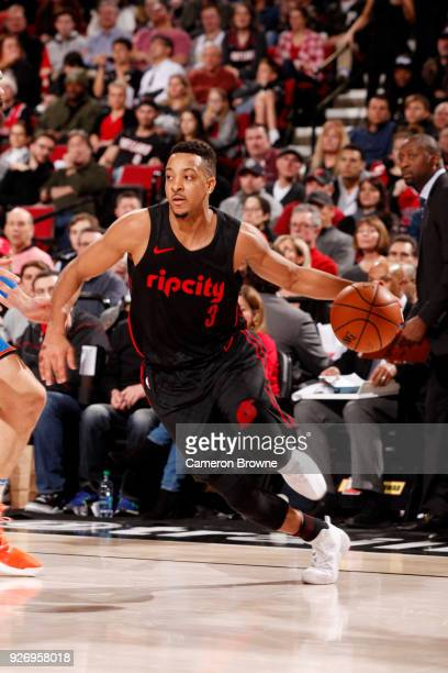 McCollum of the Portland Trail Blazers handles the ball during the game against the Oklahoma City Thunder on March 3 2018 at the Moda Center in...