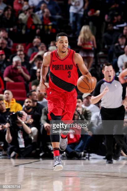 McCollum of the Portland Trail Blazers handles the ball during the game against the Cleveland Cavaliers on March 15 2018 at the Moda Center in...