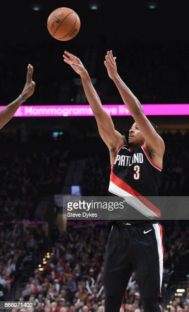 McCollum of the Portland Trail Blazers hits a shot during the fourth quarter of the game against the New Orleans Pelicans at Moda Center on October...