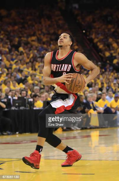 McCollum of the Portland Trail Blazers in action against the Golden State Warriors in Game Two of the Western Conference Quarterfinals during the...