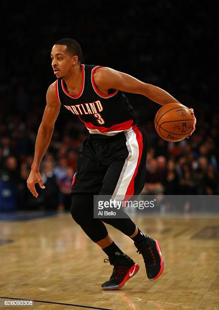 J McCollum of the Portland Trail Blazers in action against the New York Knicks during their game at Madison Square Garden on November 22 2016 in New...