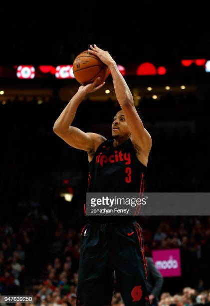 J McCollum of the Portland Trail Blazers in action against the Utah Jazz at Moda Center on April 11 2018 in Portland OregonNOTE TO USER User...