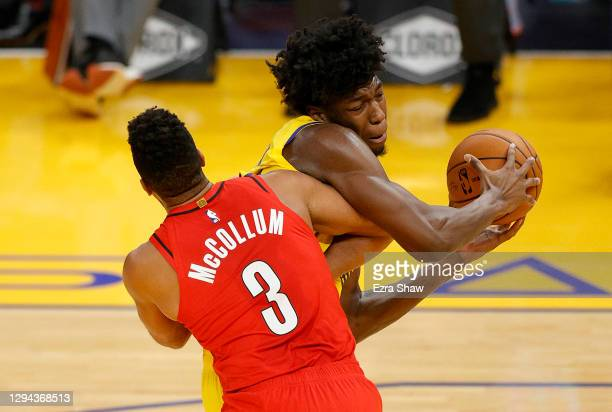 McCollum of the Portland Trail Blazers is called for a flagrant foul on James Wiseman of the Golden State Warriors at Chase Center on January 03,...