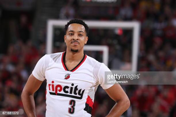 McCollum of the Portland Trail Blazers is seen against the Golden State Warriors in Game Three of the Western Conference Quarterfinals of the 2017...
