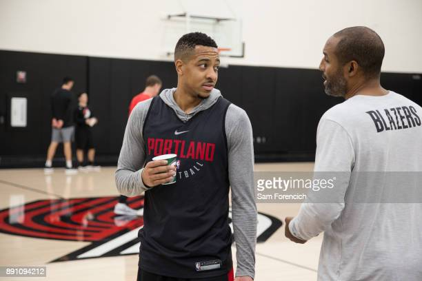 McCollum of the Portland Trail Blazers looks on during an all access practice on December 7 2017 at the Trail Blazer Practice Facility in Portland...