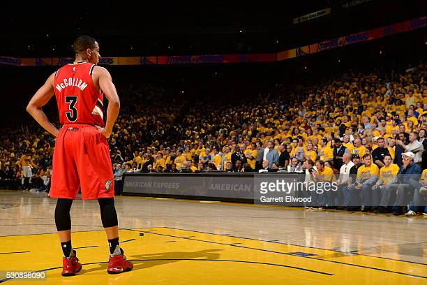 J McCollum of the Portland Trail Blazers looks on during the game against the Golden State Warriors in Game Five of the Western Conference Semifinals...