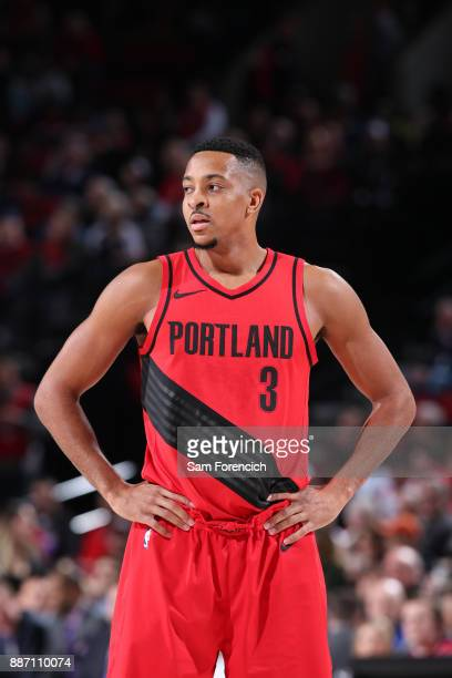McCollum of the Portland Trail Blazers looks on during the game against the Washington Wizards on December 5 2017 at the Moda Center Arena in...