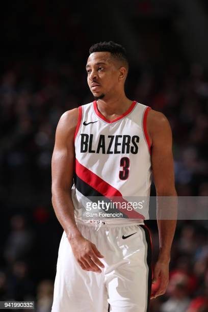 McCollum of the Portland Trail Blazers looks on during the game against the Memphis Grizzlies on April 1 2018 at the Moda Center Arena in Portland...