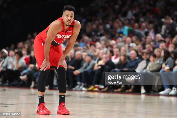 McCollum of the Portland Trail Blazers looks on in the fourth quarter against the Boston Celtics during their game at Moda Center on February 25,...