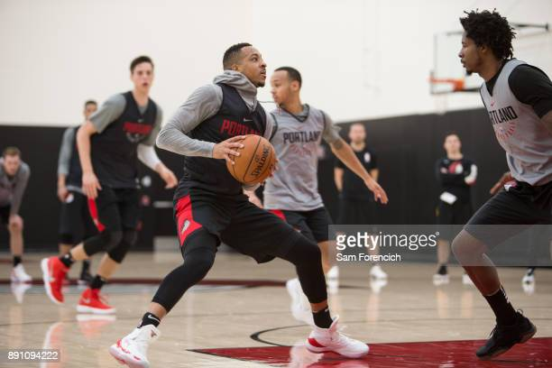 McCollum of the Portland Trail Blazers looks to shoot the ball during an all access practice on December 7 2017 at the Trail Blazer Practice Facility...