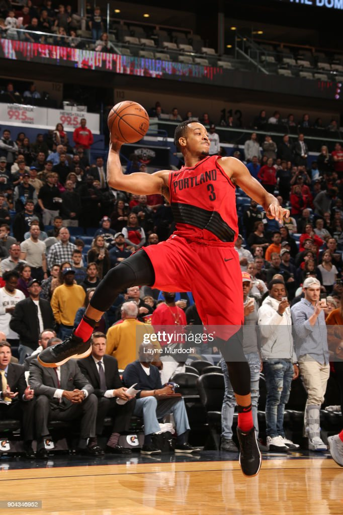 CJ McCollum #3 of the Portland Trail Blazers passes the ball against the New Orleans Pelicans on January 12, 2018 at the Smoothie King Center in New Orleans, Louisiana.