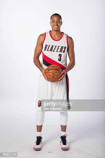 J McCollum of the Portland Trail Blazers poses for photos during the annual Media Day September 28 2015 at the Moda Center in Portland Oregon NOTE TO...