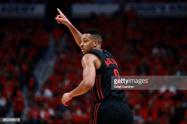 McCollum of the Portland Trail Blazers reacts after scoring a three pointer during Game 3 of the Western Conference playoffs against the New Orleans...