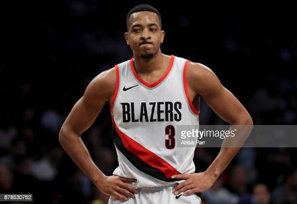 McCollum of the Portland Trail Blazers reacts against the Brooklyn Nets in the second quarter at Barclays Center on November 24 2017 in the Brooklyn...