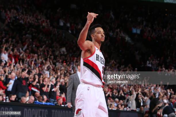 McCollum of the Portland Trail Blazers reacts against the Denver Nuggets during Game Three of the Western Conference SemiFinals of the 2019 NBA...