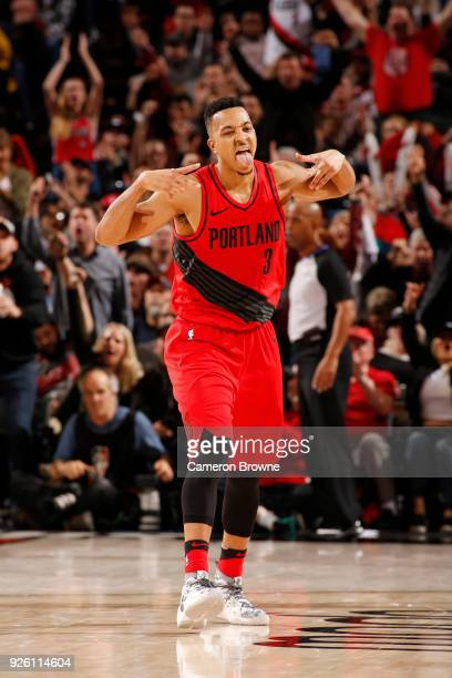 McCollum of the Portland Trail Blazers reacts during the game against the Minnesota Timberwolves on March 1 2018 at the Moda Center in Portland...