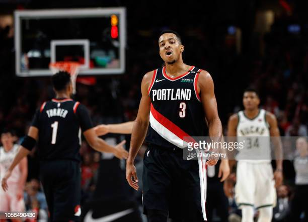 McCollum of the Portland Trail Blazers reacts to a basket against the Milwaukee Bucks at Moda Center on November 6 2018 in Portland Oregon NOTE TO...