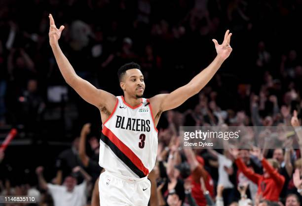 McCollum of the Portland Trail Blazers reacts to hitting a shot during the second half of game three of the Western Conference Semifinals against the...