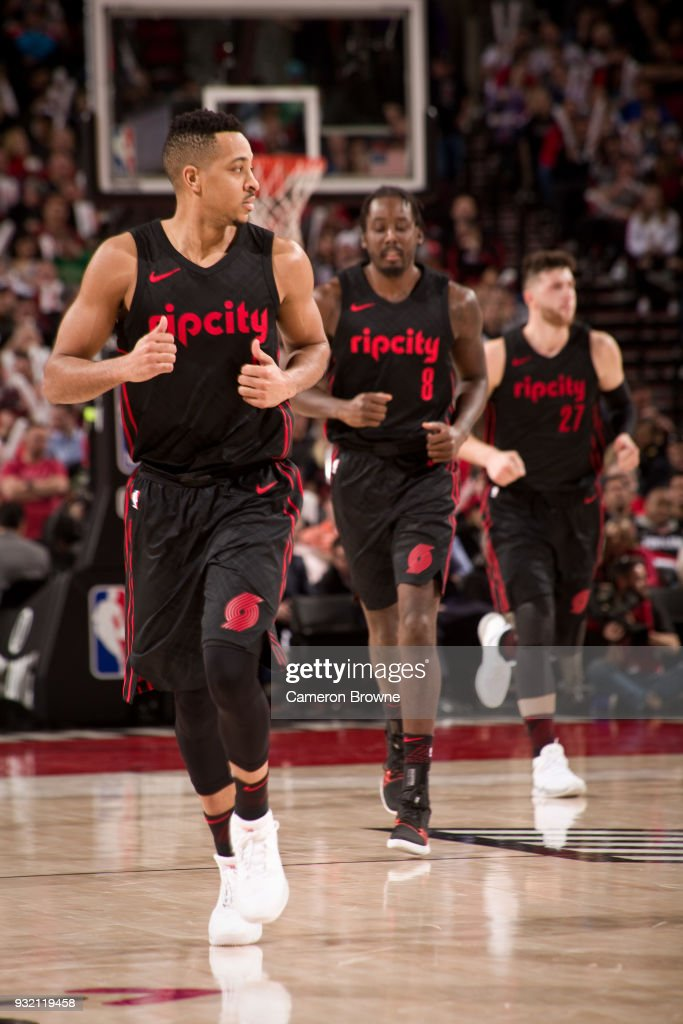 CJ McCollum #3 of the Portland Trail Blazers runs on the court against the Miami Heat on March 12, 2018 at the Moda Center Arena in Portland, Oregon.