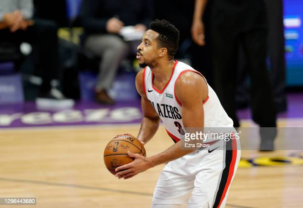 McCollum of the Portland Trail Blazers shoots a free throw against the Sacramento Kings at Golden 1 Center on January 13, 2021 in Sacramento,...