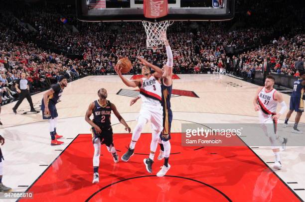 McCollum of the Portland Trail Blazers shoots a layup during the game against the New Orleans Pelicans in Game One of the Western Conference...